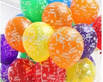 100pcs/lot 12inch Birthday Party Decoration Ballons Latex Round helium Balloon happy birthday printed balls globos