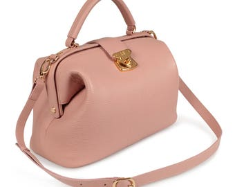 Leather Top Handle Bag, Pink powder Leather Handbag Top Handle, Women's Leather Bag KF-1311