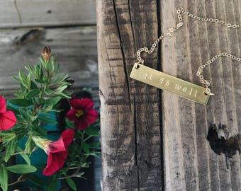 it is well // brass bar necklace