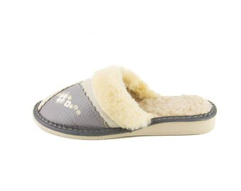 Woman's Real Leather slippers white/gray!