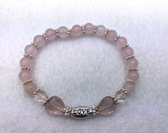 Rose Quartz Bracelet, Love Word, Stretch Bracelet, Pink Bead Bracelet, Gemstone Bracelet, Rose Quartz Beads, Inspiring Word, Heart Beads