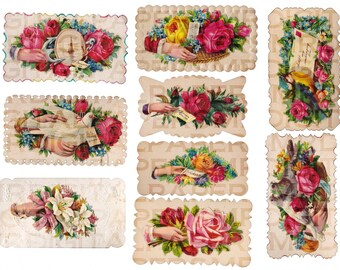 Antique Love Token / Calling Card Lot of 9 / 17 x 22 Digital Paper Download / Scrapbooking Supplies / Instant Download / High Resolution
