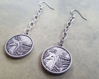 Fantasy Earrings with One Inch Unicorn 500 FRANCS Antique Silver Coins. Hang 2.75 Inches.  Embossed Link Chains.