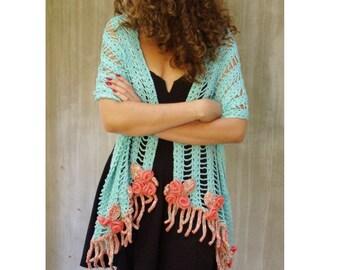 Crochet long boho turquoise floral scarf wedding festival feminine rustic lace Bohemian clothing