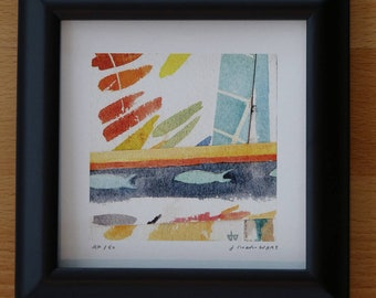 Colorful Little Fish Collage Print Framed