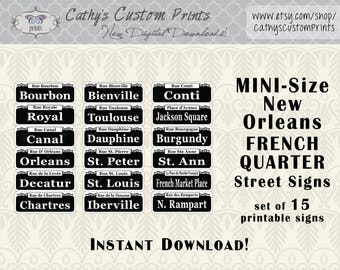 MINI New Orleans French Quarter Printable Signs Set of 15