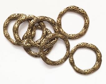 20 pcs of Antiqued brass pewter linking rings 23mm, bulk bronze connector  rings, bulk connector rings