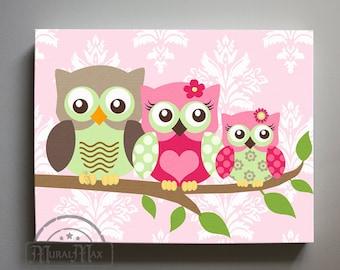 Owl Decor Girls wall art - Owl canvas art - Owl Nursery - Owl Childrens Art - Childrens Room -Nursery wall art