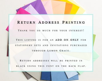 Custom Envelopes | Return Address Printing ADD-ON  |  Personalized Envelopes