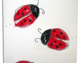 Ladybug Art / Ladybird Children's Bug Canvas / Boys / Girls Nursery Decor