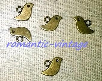 10 charms, charm birds bronze 11 * 7mm
