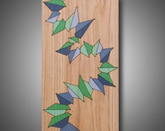 "Momentum: 11.25"" x 20.25"" - Original Abstract Modern Art on Oak - Pyrography - Wood Burned - Colored with Prismacolor Pencil - Gray, Green"