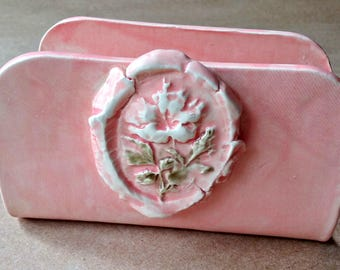 Kitchen Sponge Holder ceramic Business Card Holder  Coral Hibiscus