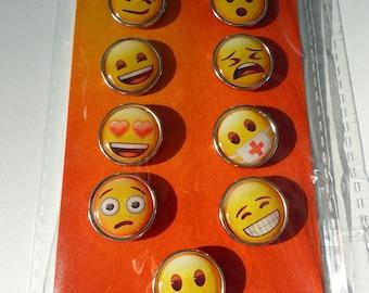 9 grosses fasteners Parisian emoticon smiley different emotions brads emoji 2 centimeters