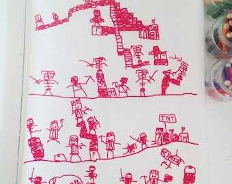 Flour Sack Towels -  Screen Print Tea Towel - Kitchen Towels - Tea Towel Flour Sack  - Kids drawing Towels - Ninja in Minecraft - Cotton Red