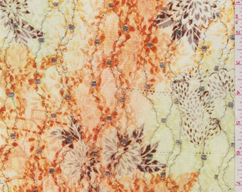 Yellow/Orange Floral Stretch Lace, Fabric By The Yard