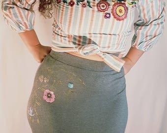 Women's medium skirt, Skirt with Hand painted flower design, Long cotton skirt, Grey women's skirt, Ladies apparel, women's fashion