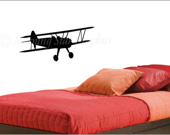 BI-PLANE AIRPLANE Vinyl Wall Art Decal T-102