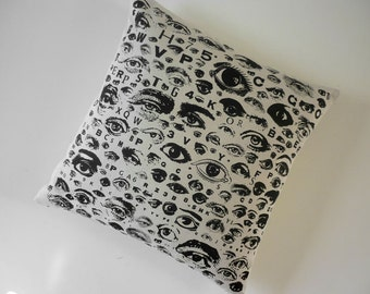 Eye Chart silk screened cotton canvas throw pillow 18 inch square