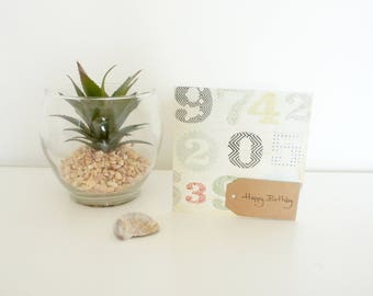 happy birthday card, greetings card, blank card, numbers card, simple card, brown tag, age card, colourful card
