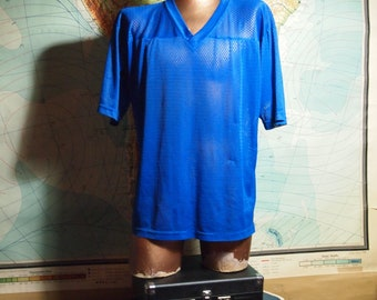 Electric Blue Mesh Vintage 1990s / 90s Mens Unisex See Through Oversized Sport Athletic V-Neck Jersey Boxy Short Sleeve Shirt Top {X-LARGE}