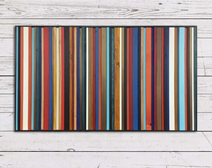 "Reclaimed Wood Art Sculpture ""Rio"" - Striped Wood Wall Art - Modern Wood Wall Art - Abstract Wood Art"
