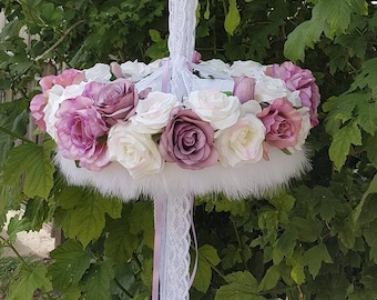 Vintage- Floral Chandelier- shabby-mobile-roses-baby cot chandelier-girls room-wedding chandelier-flowers-feathers-hanging gift-