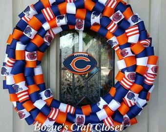 Chicago Bears wreath, Show your Bears pride, Football ribbon wreath, Bears wreath, Chicago wreath, Bears decor, Bears football, mancave deco