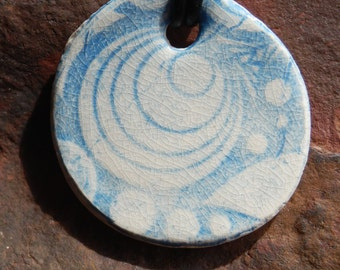 Blue and White Funky Patterened Ceramic Necklace