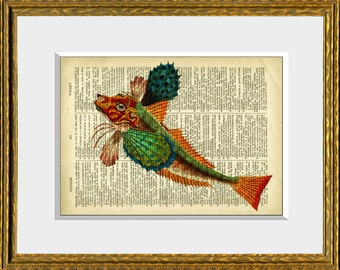 Dictionary Print - COLORFUL TROPICAL FISH 3 - upcycled antique dictionary page with a sea life ocean illustration - colorful wall art