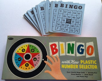 Vintage Bingo Game Set in Original Box - Bingo Cards and Markers - Plastic Bingo Number Selector - By Whitman
