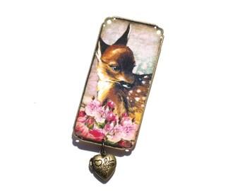 Fawn Brooch - Woodland Brooch - Deer Brooch - Pink Brooch - Fawn Pin - Deer Pin - Deer - Fawn - Woods - Forest - Baby Deer - Baby Fawn