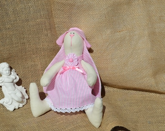 Gift for girl, Stuffed animal toy, Handmade doll Art doll, Tilda Rabbit, Housewarming gift, Home decor,