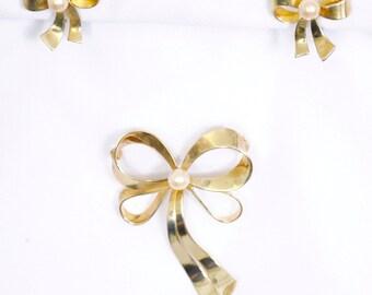 Antique Designer Broach, Earrings set gold wash over sterling signed 1930 marked