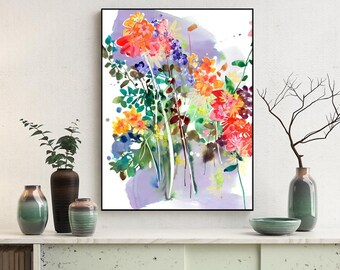 Art Print Watercolor Painting Spring Decor Watercolour Flowers Print Abstract Art Housewarming Gift Large Wall Art CreativeIngrid