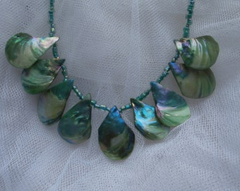 Shell Necklace, green dyed shells, 22 inch shell necklace, green necklace, green shell beads, short shell necklace