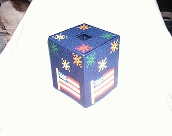 PDF Plastic Canvas Pattern July 4th Tissue Box Cover Patriotic