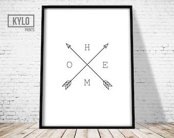 Home Arrow Print, Arrow Black and White Print, Wall Art Print, Home Print, Minimal Arrow Home Type, Arrows Digital Print, Minimalist Print