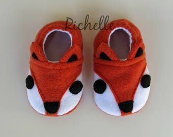 Fox Baby Shoes, Dark Orange Soft Sole Fox Baby Crib Shoes, Toddler Boy Girl Slippers, Infant Baby Shower Gift Idea