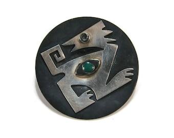 Popowski Modernist Sterling Brooch, Taxco Mexico, Black Enamel, Abstract Brooch, Mexican Silver, Estate Jewelry