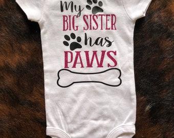 Big Sister/Brother has Paws onesie