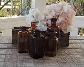 Vintage Brown Glass Bottles Set of 5 Wedding Supplies Medicine Bottles, Instant Home Decor, Hand Dug, Craft Supplies, Collection 2