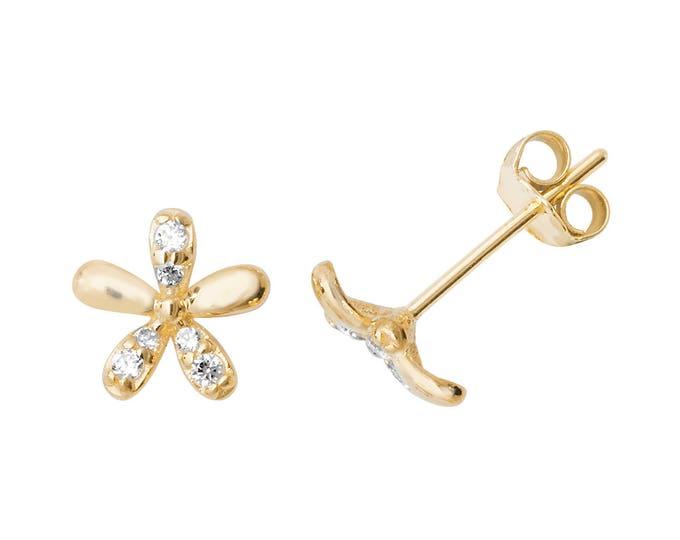 9ct Yellow Gold Pretty Cz Daisy Flower Stud Earrings 6mm Diameter