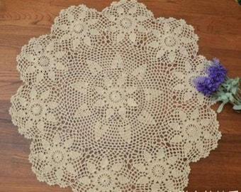 "Vintage Crochet Tablecloth~45""~Big Size~ item no 987"