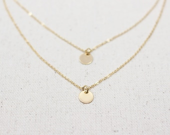 Double Gold Coin Necklace / Gold Disc Necklace / Gold Layering Necklace / Dainty Bridesmaid Necklace / Gold  Layering Necklace Set