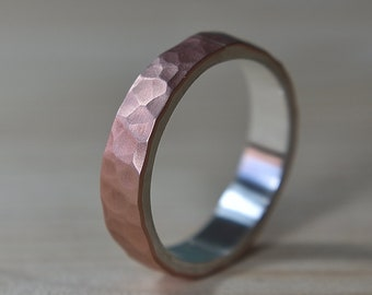 Mens Flat Hammered Copper Wedding Band. Hammered Copper Matte Wedding Ring for Men. Mens Wedding Rings. Hammered Matte Wedding Band
