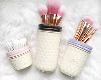 Mason Jar Set, Dressing Table Set, Vanity Desk, Mason Jar Decor, Makeup