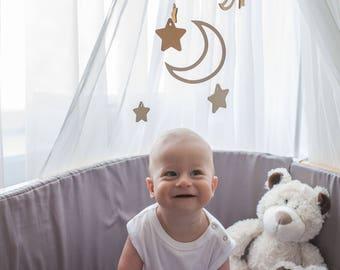 Baby mobile Moon - Wooden mobile - Baby mobile star - Crib mobile - Baby mobile ideas - Moon baby mobile - Moon nursery  - Nursery mobile