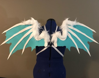 Realistic White and Blue Fuzzy Dragon Cosplay Wings