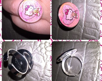 Resin jewelry ring adjustable round Hello Kitty